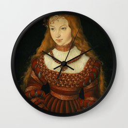 "Lucas Cranach the Elder ""Portrait of Princess Sibylle of Cleve"" Wall Clock"