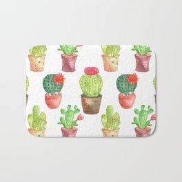 Watercolor prickly cacti in pots Bath Mat