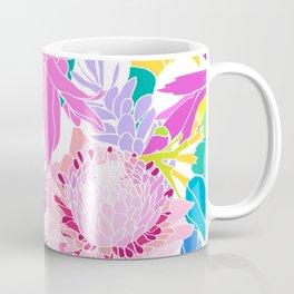 Ginger Flowers in Tropical Rainbow + White Coffee Mug