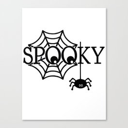 Spooky spider in Halloween night Canvas Print