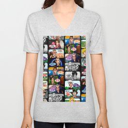 Faces of Who (Black) Unisex V-Neck