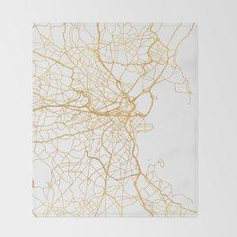 BOSTON MASSACHUSETTS CITY STREET MAP ART Throw Blanket