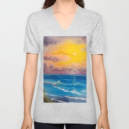 Beach Cove, Beautiful Beach, Colorful Beach, Beach Sunset, Colorful Sunset Unisex V-Neck