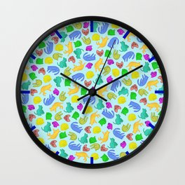 Sleepy Cat // crowd of colorful peaceful cats Wall Clock