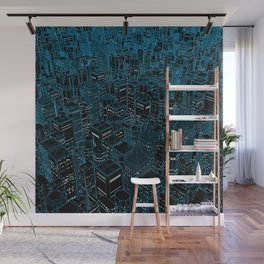 Night light city / Lineart city in blue Wall Mural