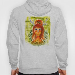 Doe face - Woman beauty with deer face and green, hand-painted watercolor and gouache Hoody