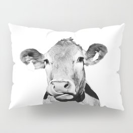 Cow photo - black and white Pillow Sham