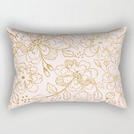 Gold Roses Rectangular Pillow
