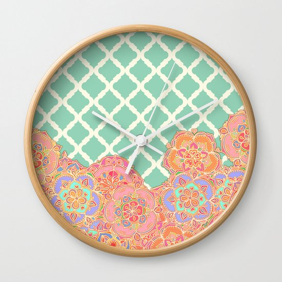 Floral Doodle on Mint Moroccan Lattice Wall Clock