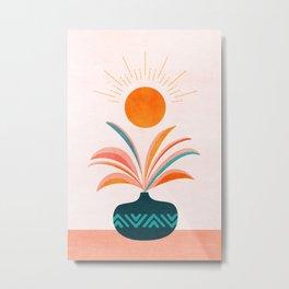 Sun Worship / Colorful Plant Illustration Metal Print
