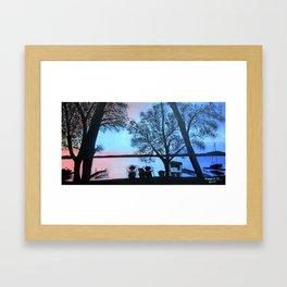 Buffalo lake at night Framed Art Print