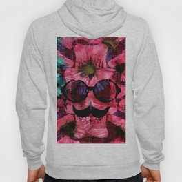 vintage old skull portrait with red and blue flower pattern abstract background Hoody