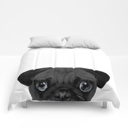 Black Pug, Original painting by miart Comforters