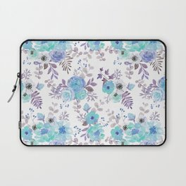 Lilac teal blue hand painted watercolor floral Laptop Sleeve