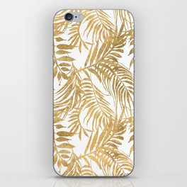 Elegant tropical gold white palm tree leaves floral iPhone Skin