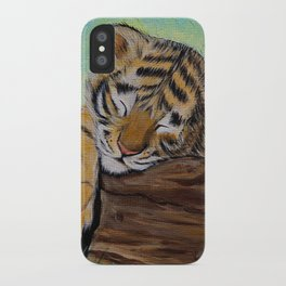 Sleepy Tiger Cub Painting iPhone Case