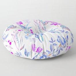 Modern purple blue watercolor hand painted orquid butterfly Floor Pillow
