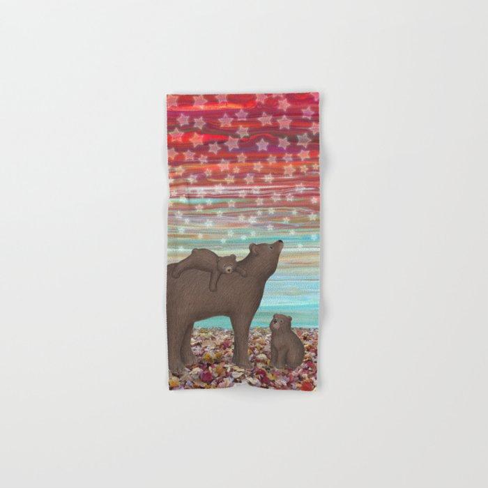 brown bears and stars Hand & Bath Towel