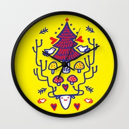 Xmas tree Yellow Land Wall Clock
