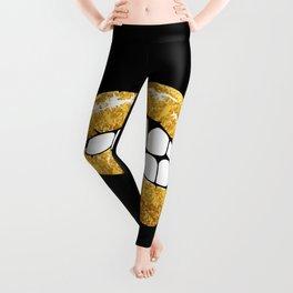 Gold glitter lips Leggings