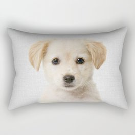 Golden Retriever Puppy - Colorful Rectangular Pillow
