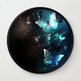 Mint Night Butterflies Wall Clock