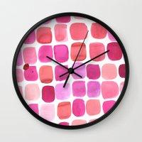 lipstick Wall Clocks featuring Lipstick by Amy Sia