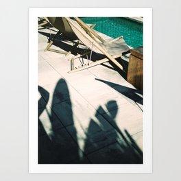 Poolside in Barcelona wanderlust photo print | Palmtree shadow play at summertime Art Print