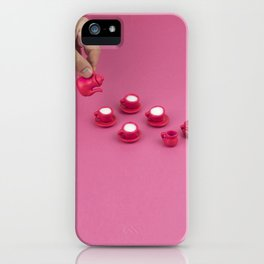 Tiny pink tea party iPhone Case