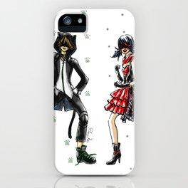 Ladybug and Cat Noir Inspired Fashion Illustration iPhone Case