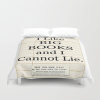 gift card Duvet Covers featuring Library Card / Book Lovers Gift / I Like Big Books and I cannot Lie by MY  HOME