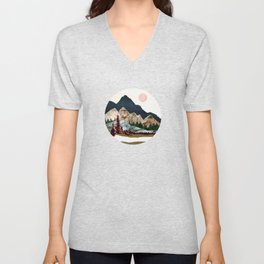 Retro Autumn Vista Unisex V-Neck