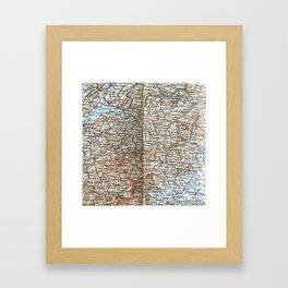 Where Italy, France & Switzerland meet, 1900 map Framed Art Print