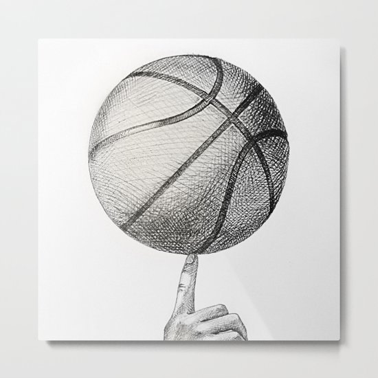 Basketball spin Metal Print