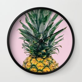 Pineapple in Pink Wall Clock