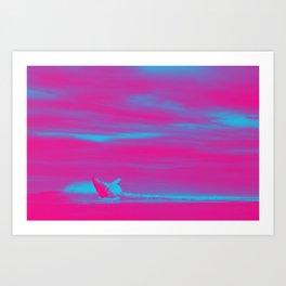 Ocean Sea Wave Whale1 Art Print