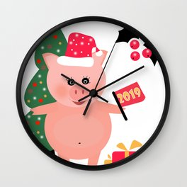 Christmas, pig year 2 Wall Clock