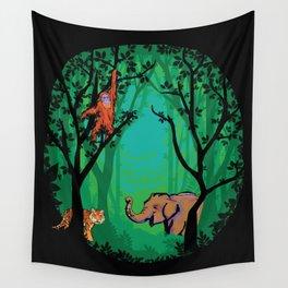 Sumatra Forest Animals - Orangutan, Tiger and Elephant Wall Tapestry