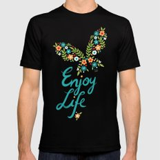 Enjoy Life MEDIUM Black Mens Fitted Tee