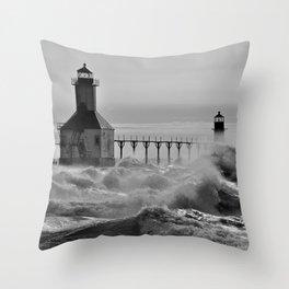 Lake Michigan's Fury - St. Joseph Lighthouses Throw Pillow