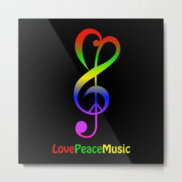 Love peace music hippie treble clef Metal Print
