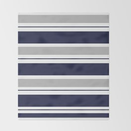Navy Blue and Grey Stripe Throw Blanket