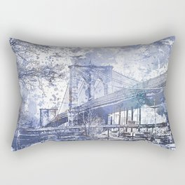 Brooklyn Bridge New York USA Watercolor blue Illustration Rectangular Pillow