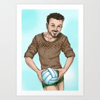 volleyball Art Prints featuring volleyball guy by Isaac Fortaich