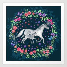 Mama and Baby Unicorn Art Print