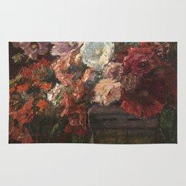 Theodore Clement Steele - Hollyhocks .Vase Of Flowers Rug