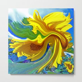 Sunflower Swirl Metal Print