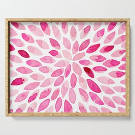 Watercolor brush strokes - pink Serving Tray