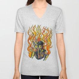 Rock and Flames Unisex V-Neck