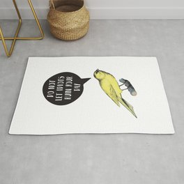 Yellow Bird Canary Funny Motivational Quote Do not let idiots ruin your day Rug